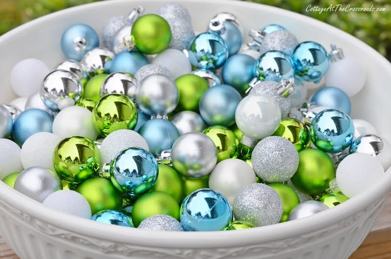 small Christmas ornament balls used in making an ornament garland