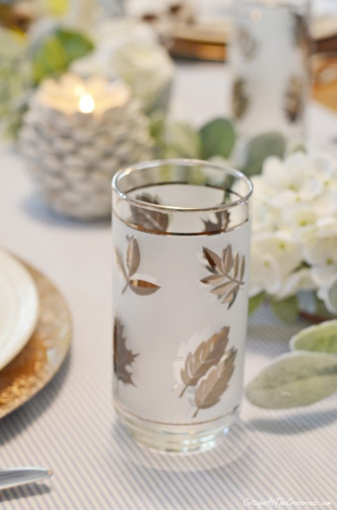 vintage Libbey frosted glasses with leaves