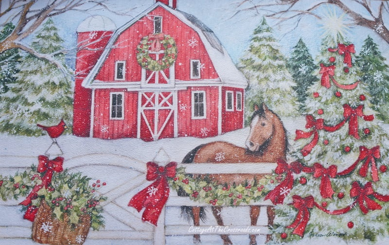 Christmas doormat with a red barn and a horse