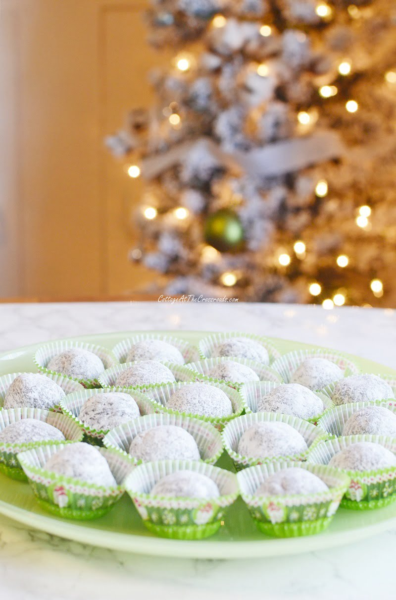 a plate of Mom's rum balls