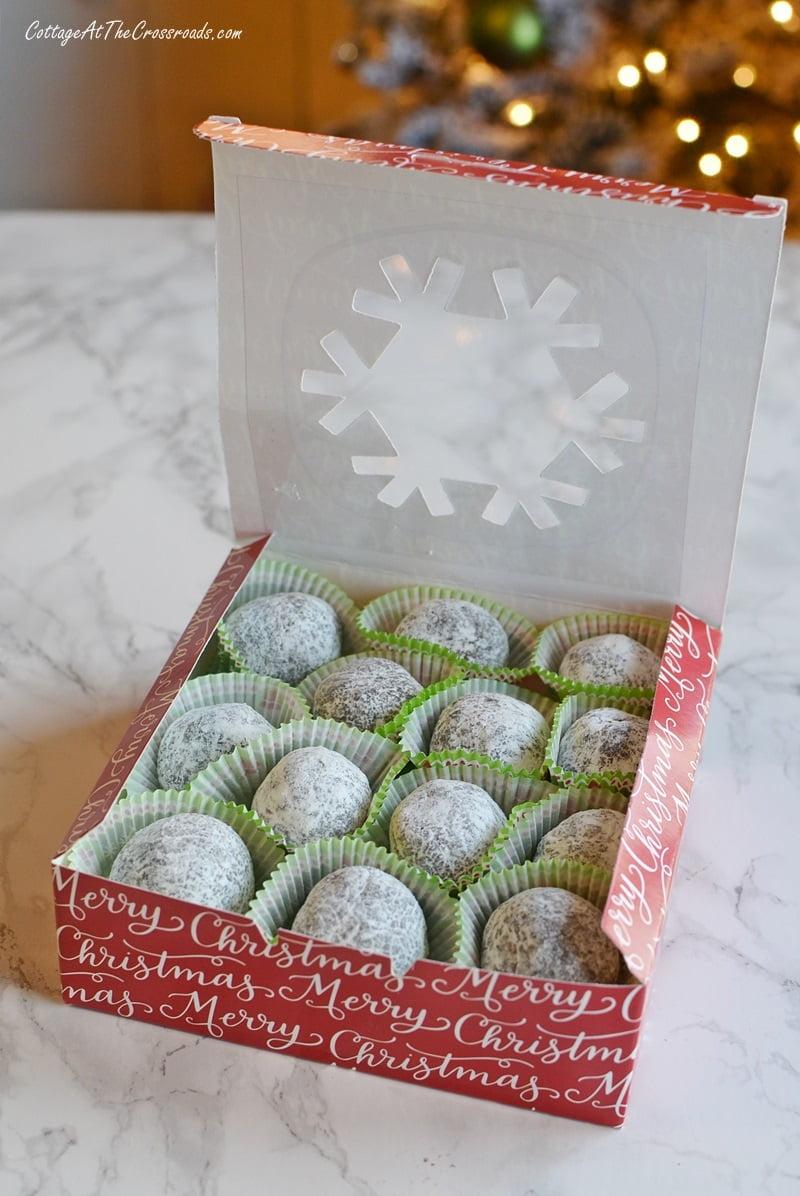 box of Mom's rum balls