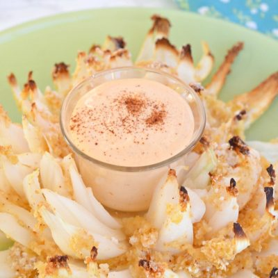 healthier baked blooming onion with dipping sauce