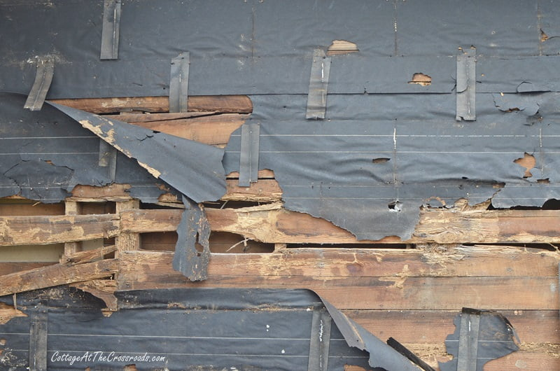 old wood siding on the back of the house