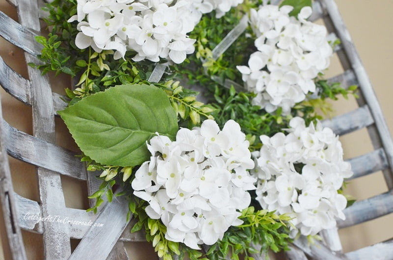 white hydrangea farmhouse wreath