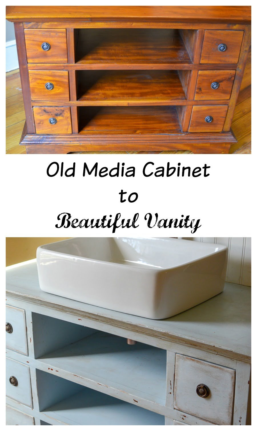 an old media cabinet gets repurposed into a vanity