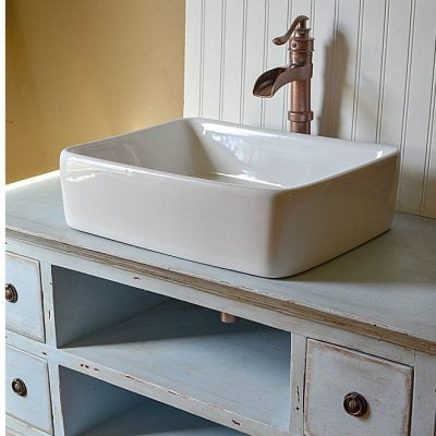 An old media cabinet becomes a repurposed vanity