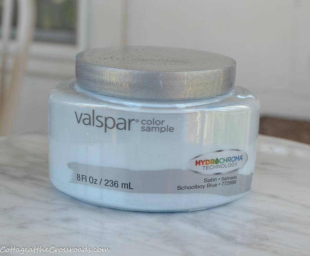 sample pot of Valspar paint