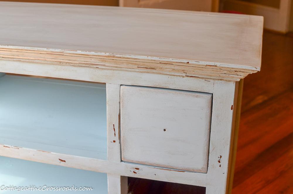 drawer in a painted repurposed vanity