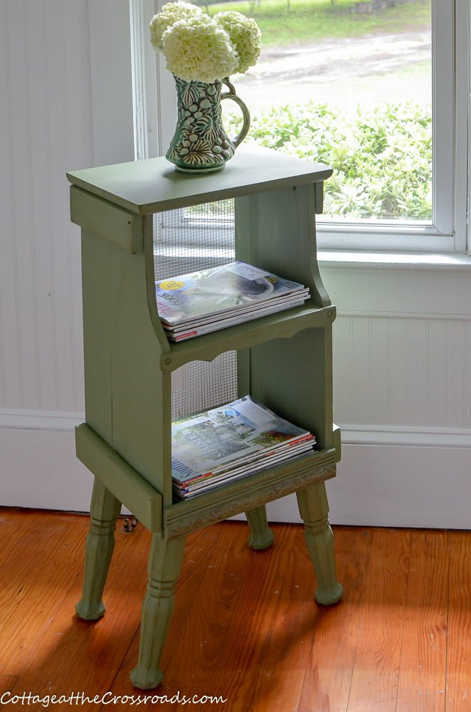 cottage style magazine rack painted green