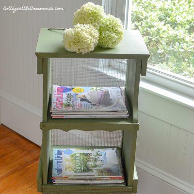 Green Cottage Style Magazine Rack