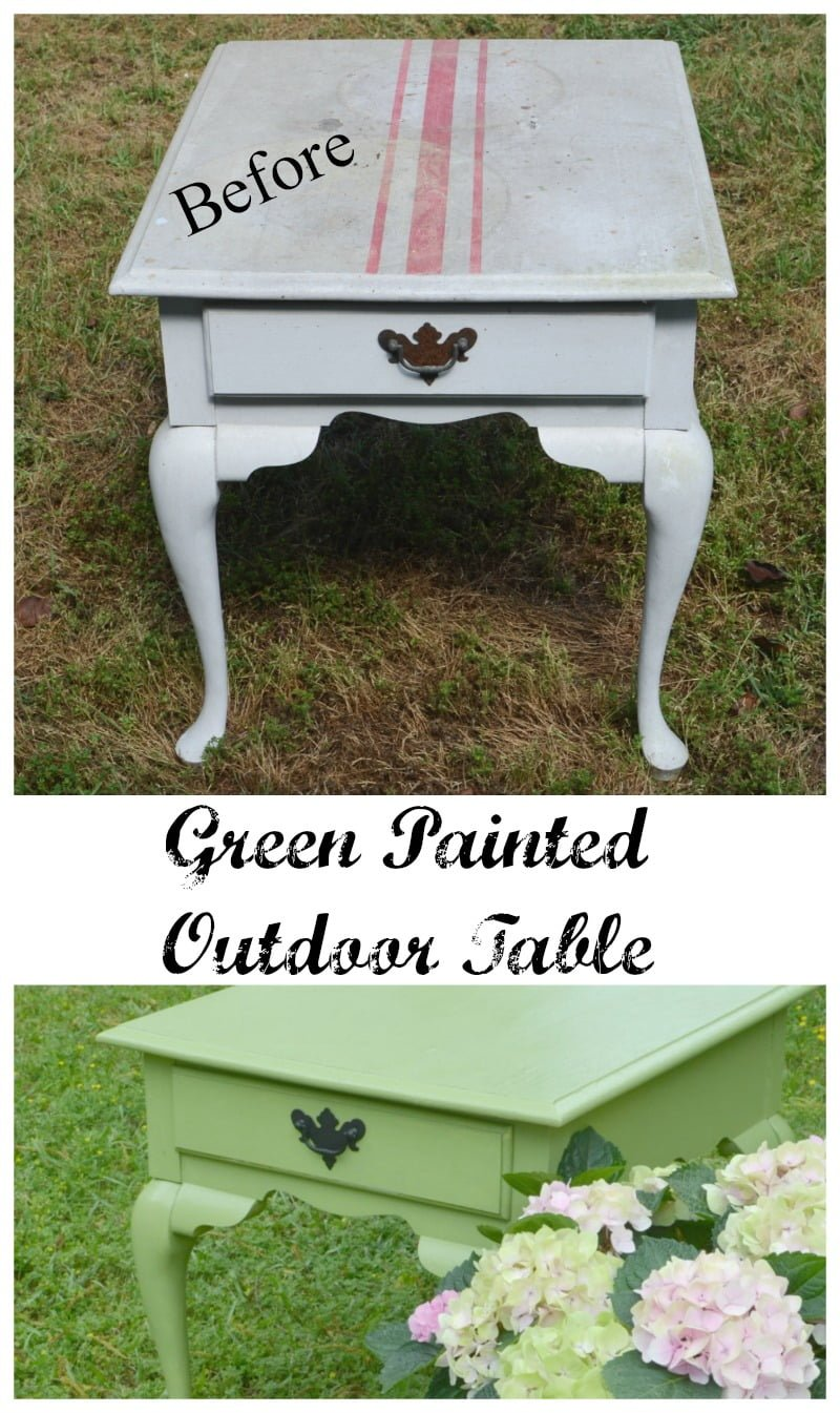 graphic of before and after of a painted outdoor table