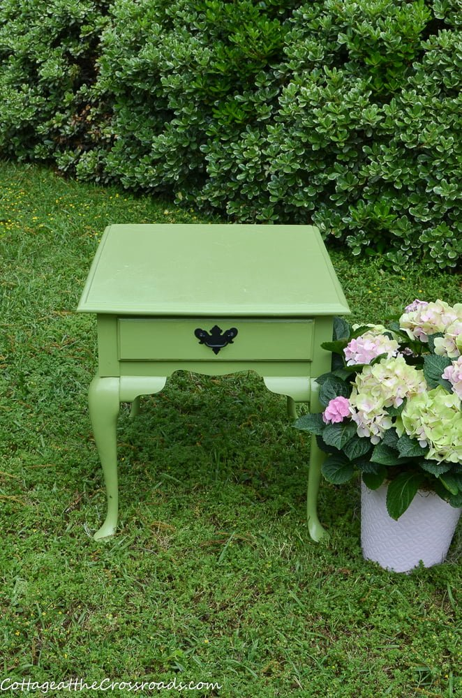 green painted outdoor table