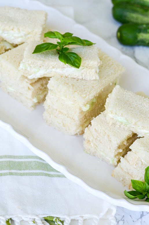 finger sandwiches made with cucumber sandwich spread