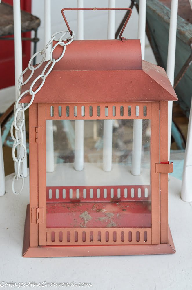 old faded metal lantern