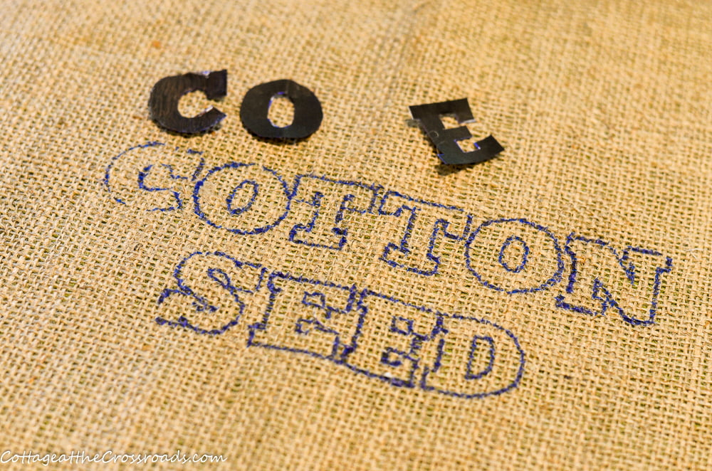 stencil letters for the words cotton seed