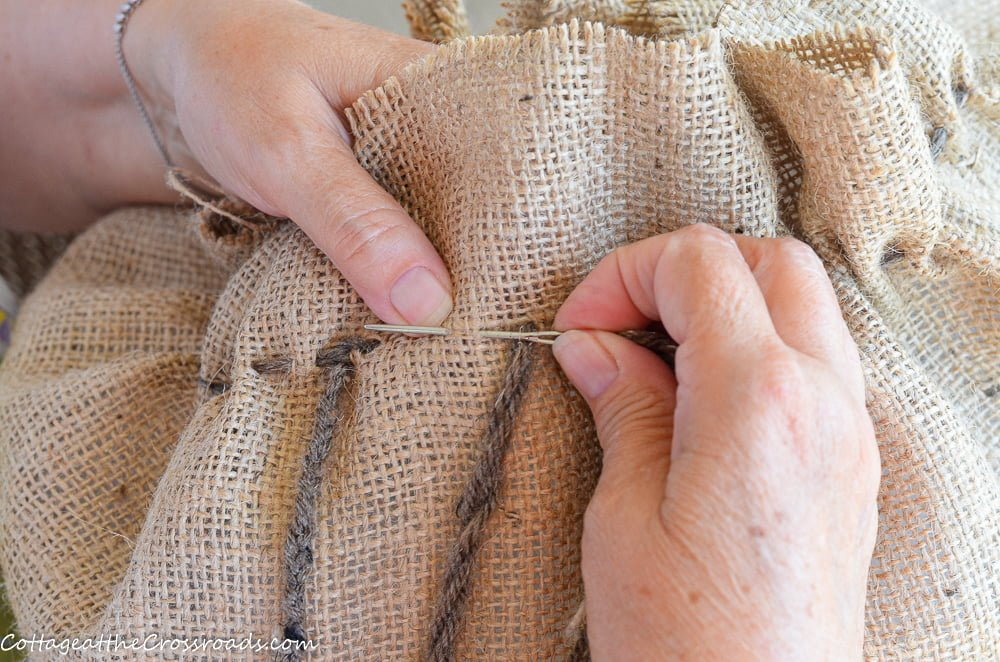 sewing on burlap