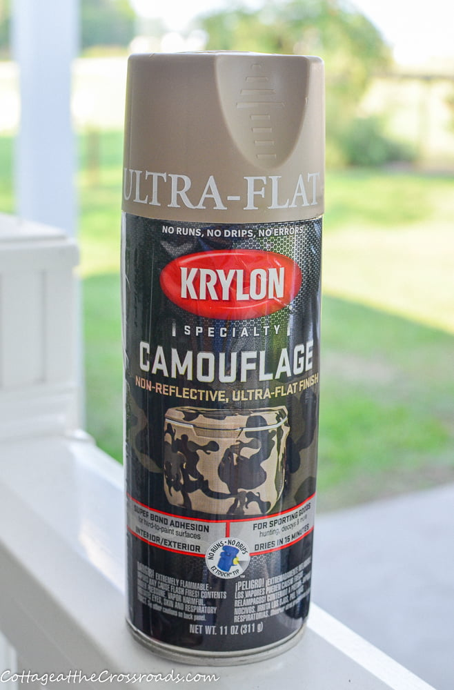 camouflage paint by Krylon used on cubby makeover