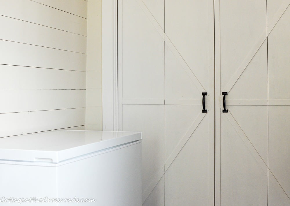 chest freezer in mudroom
