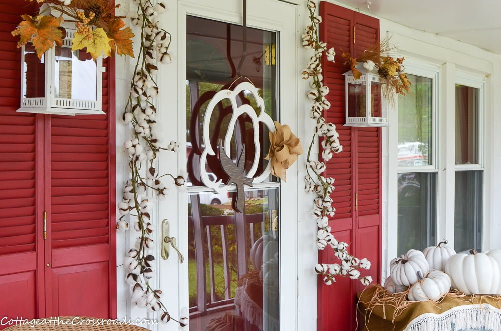 Cotton Pickin' Fall Front Porch-a fall decorated porch with a cotton theme