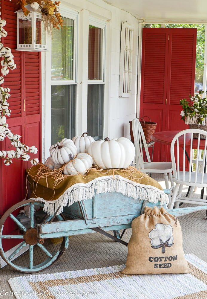 diy cotton seed bag on a fall front porch