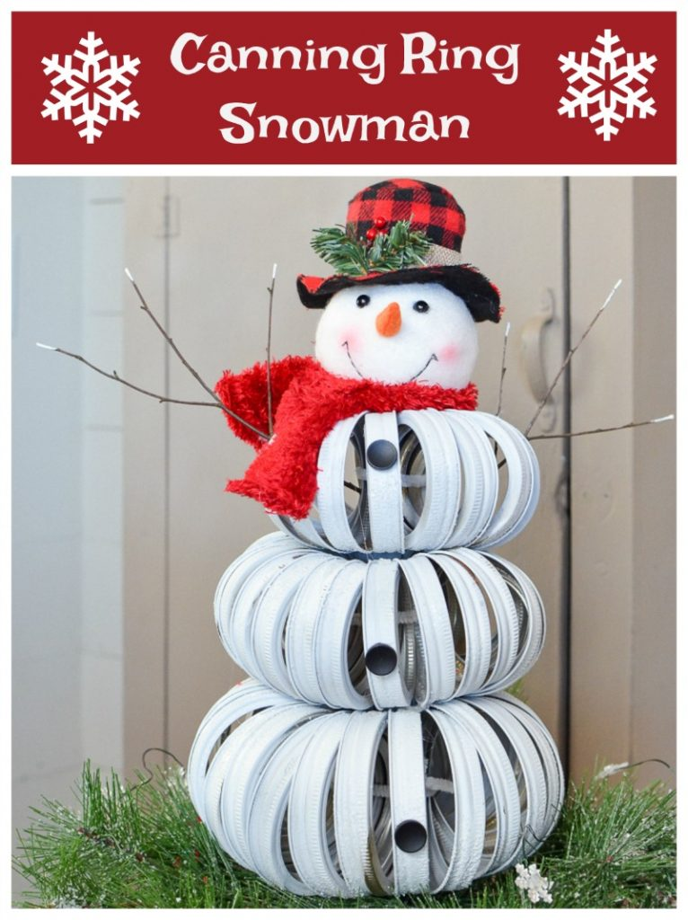 Adorable handmade snowman made from canning jar rings