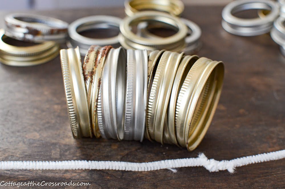 canning rings and a long pipecleaner