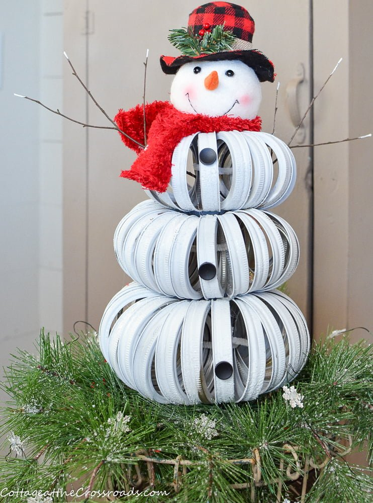 Adorable handmade canning ring snowman