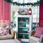 Aqua, red, and plaid Christmas front porch