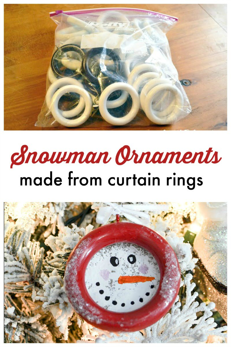 graphic Snowman Ornaments made from Curtain Rings