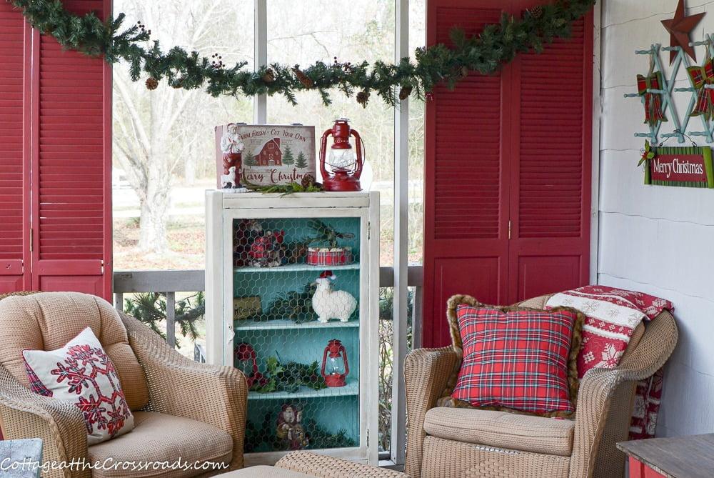 plaid and aqua Christmas porch