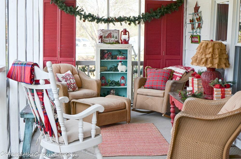 plaid, aqua, and red Christmas front porch