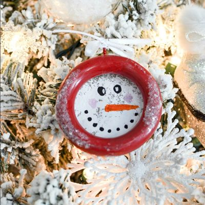 DIY Snowman Ornaments made from Curtain Rings