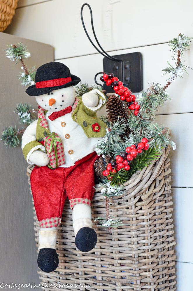 snowman in basket