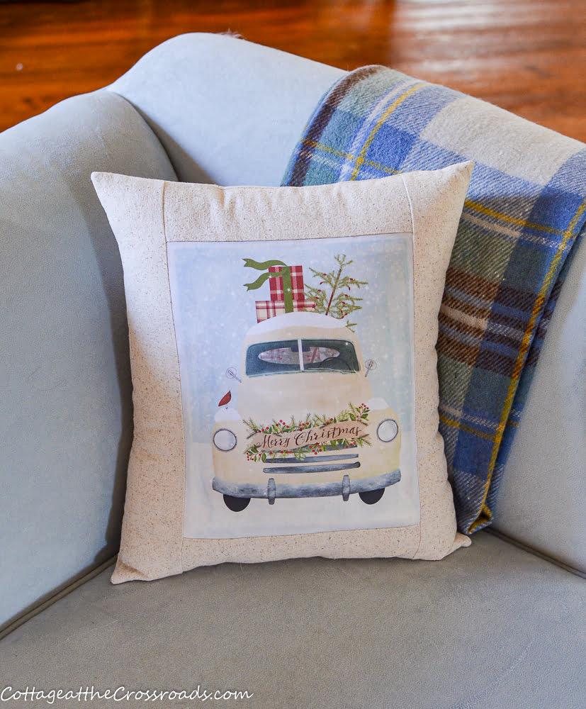white truck Christmas pillow