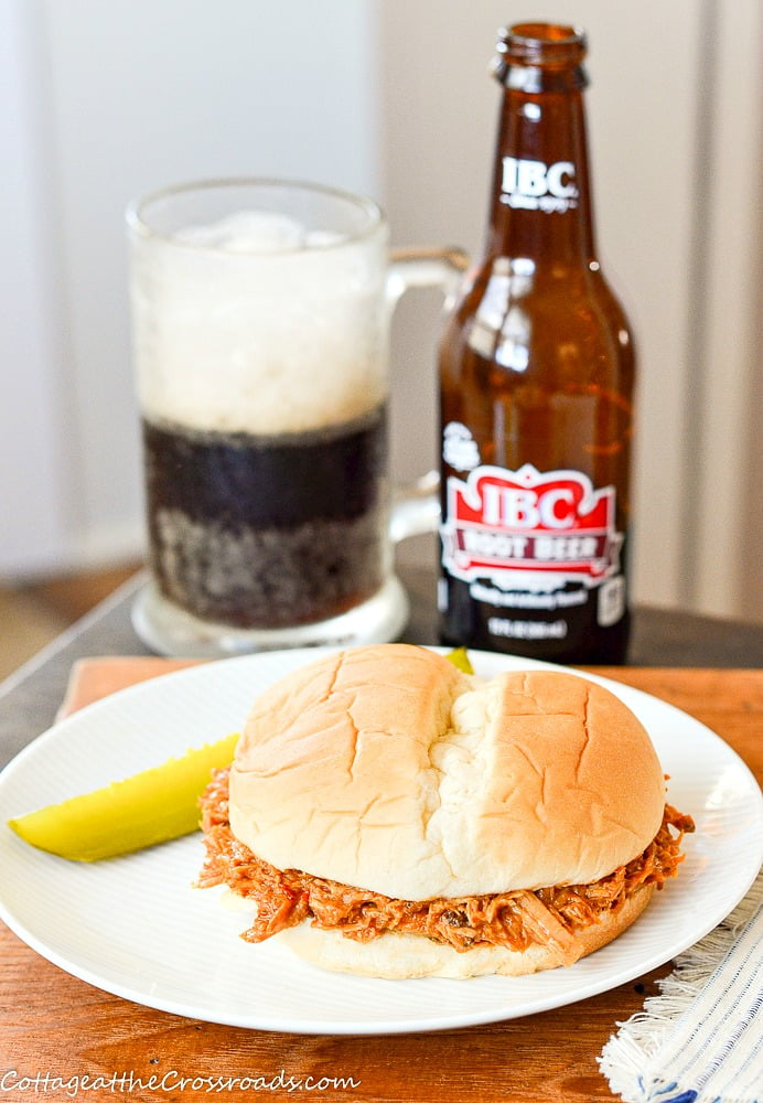 pulled pork sandwich with root beer bbq sauce