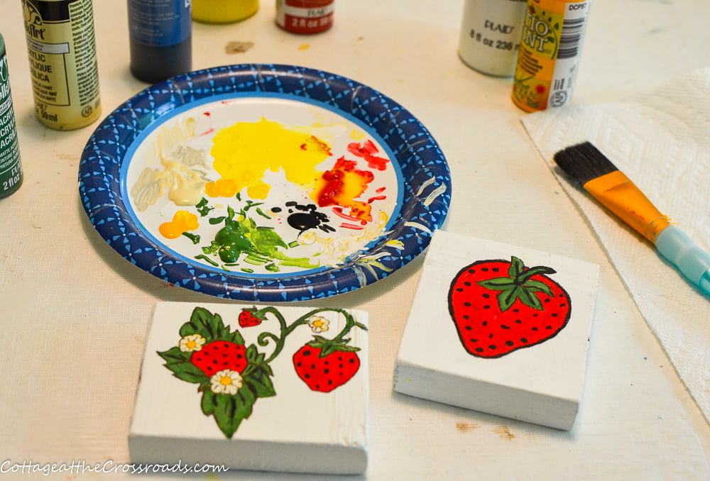use acrylic paint to paint the design