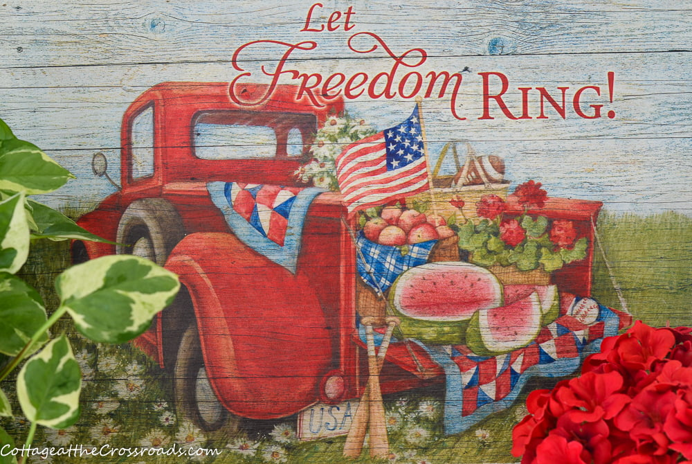 red truck artwork with the phrase Let Freedom Ring