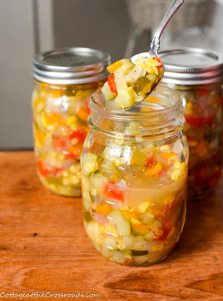 jars of zucchini corn relish