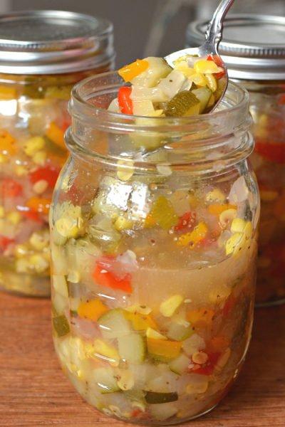 zucchini corn relish in jars