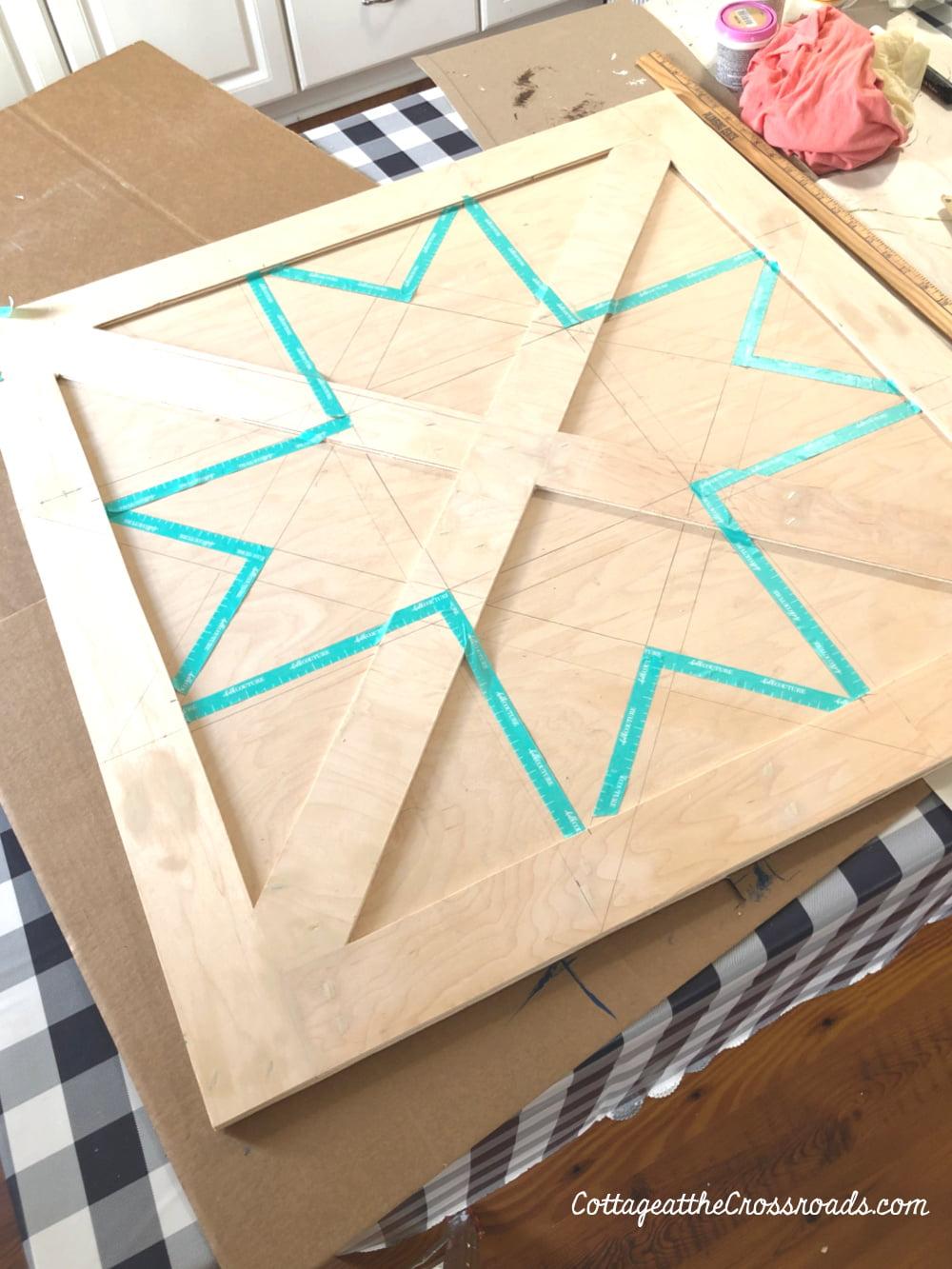 outline of barn star quilt design