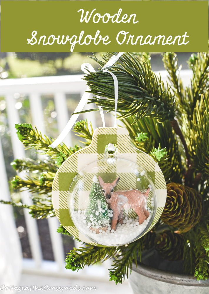 wooden snow globe ornament graphic