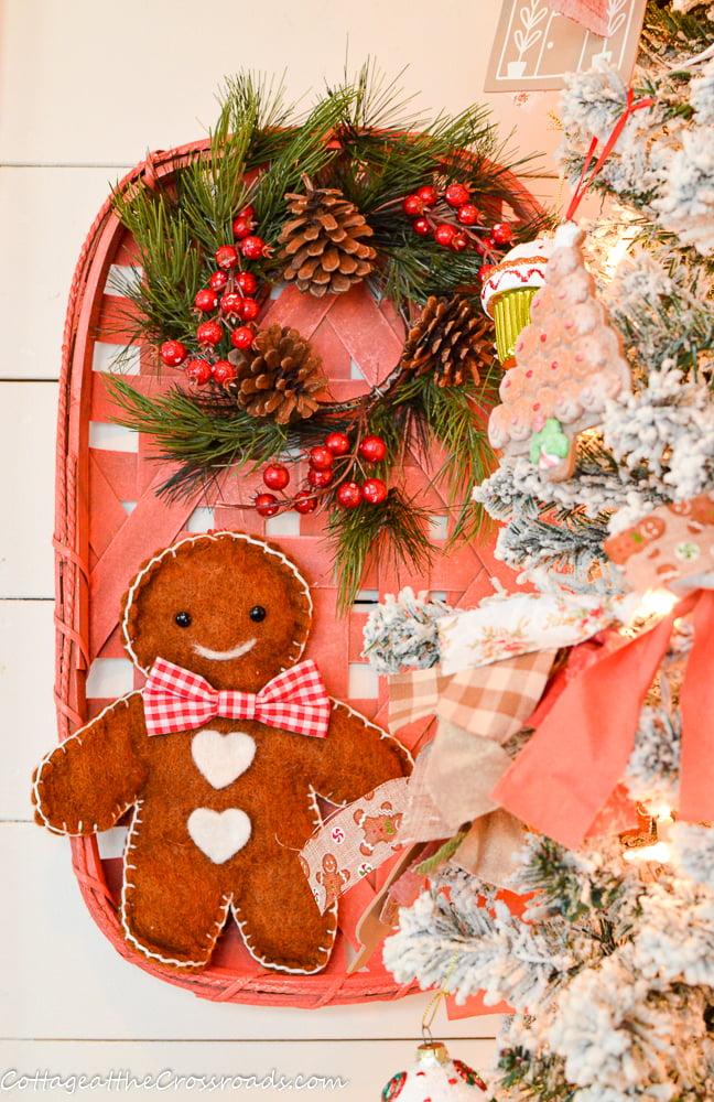 gingerbread boy in a farmhouse basket