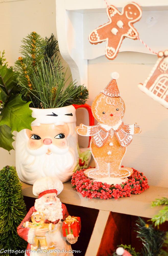 vintage Santa pitcher and gingerbread boy