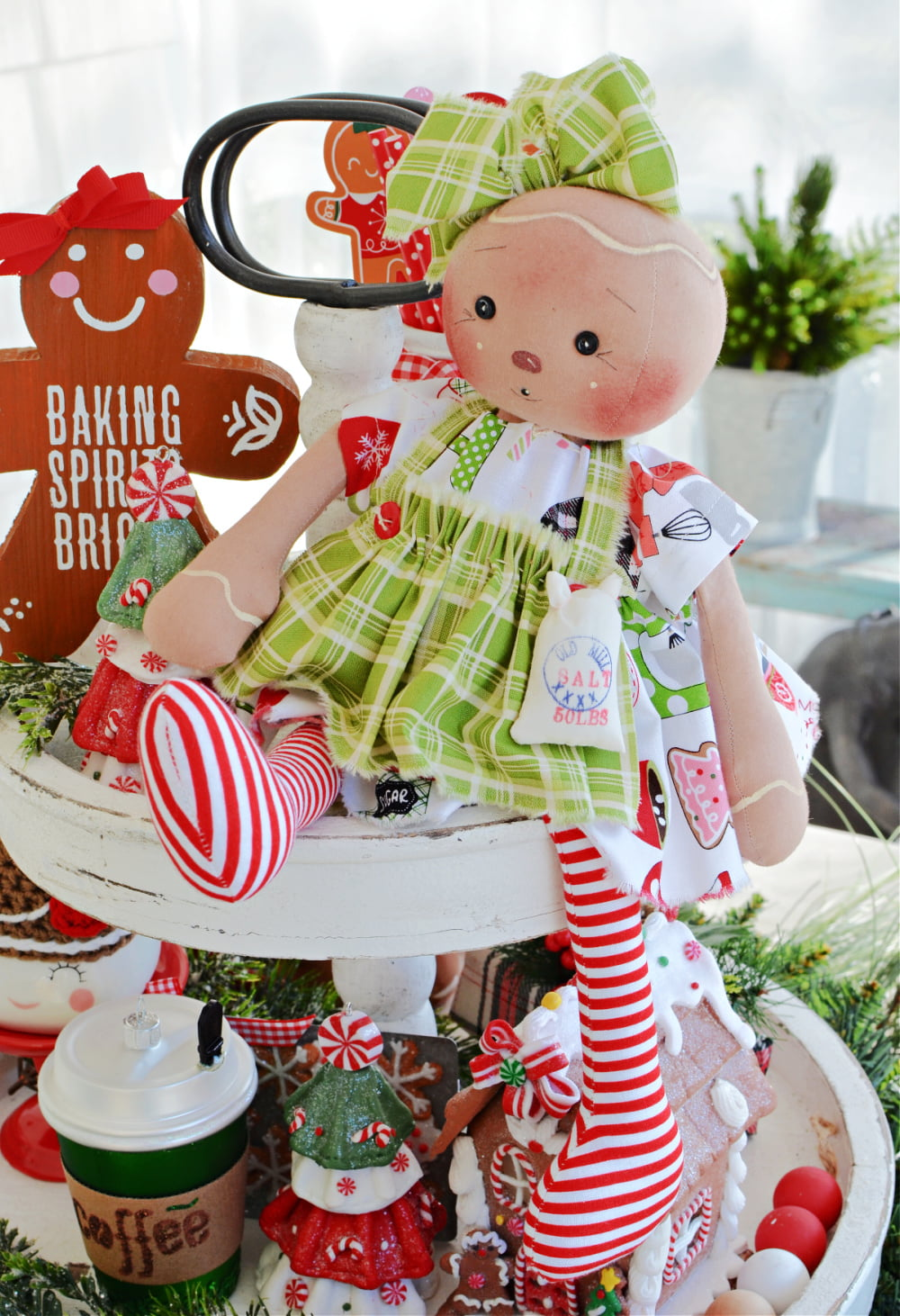 gingerbread doll on a tiered tray