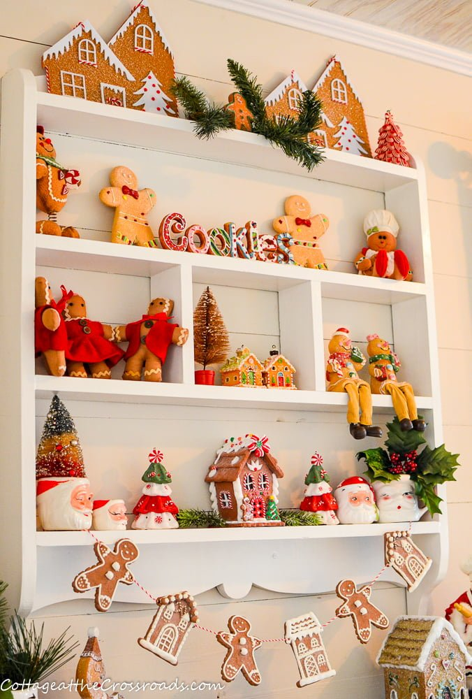 wall cupboard decorated for Christmas