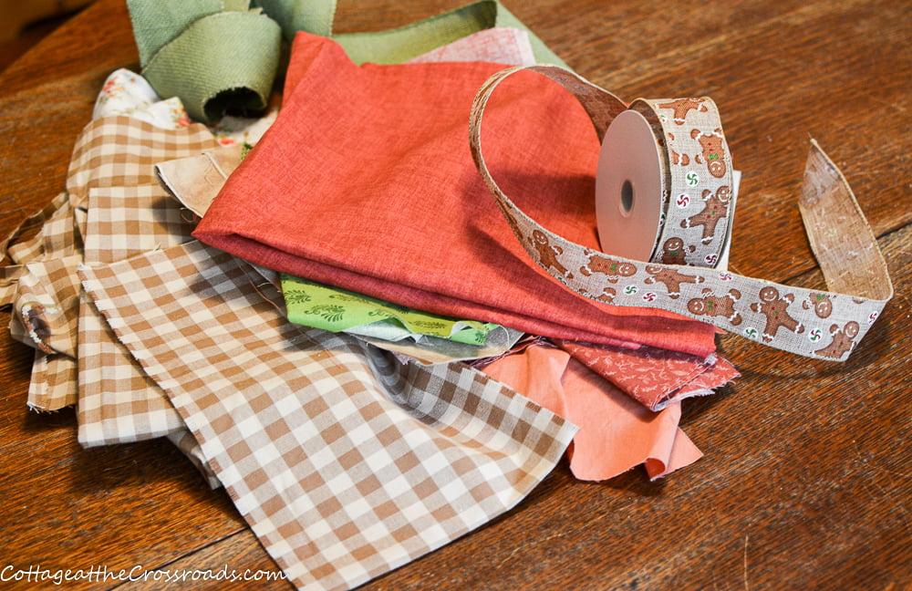 scrap fabric for a gingerbread rag garland