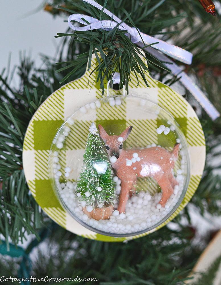 wooden snowglobe ornament