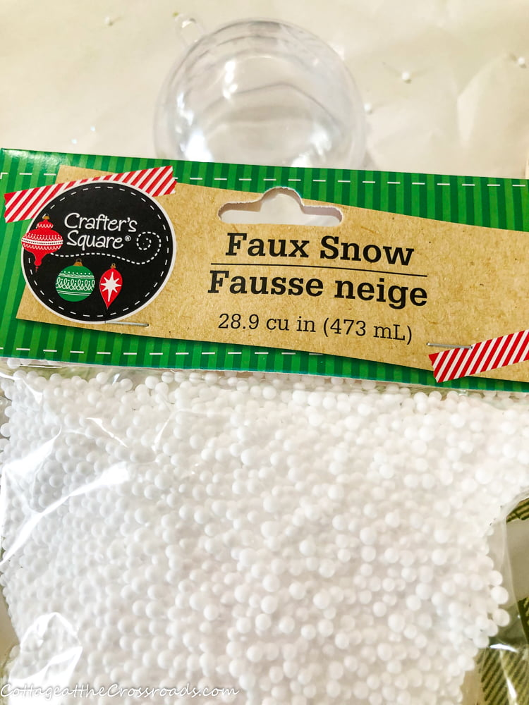faux snow from Dollar Tree