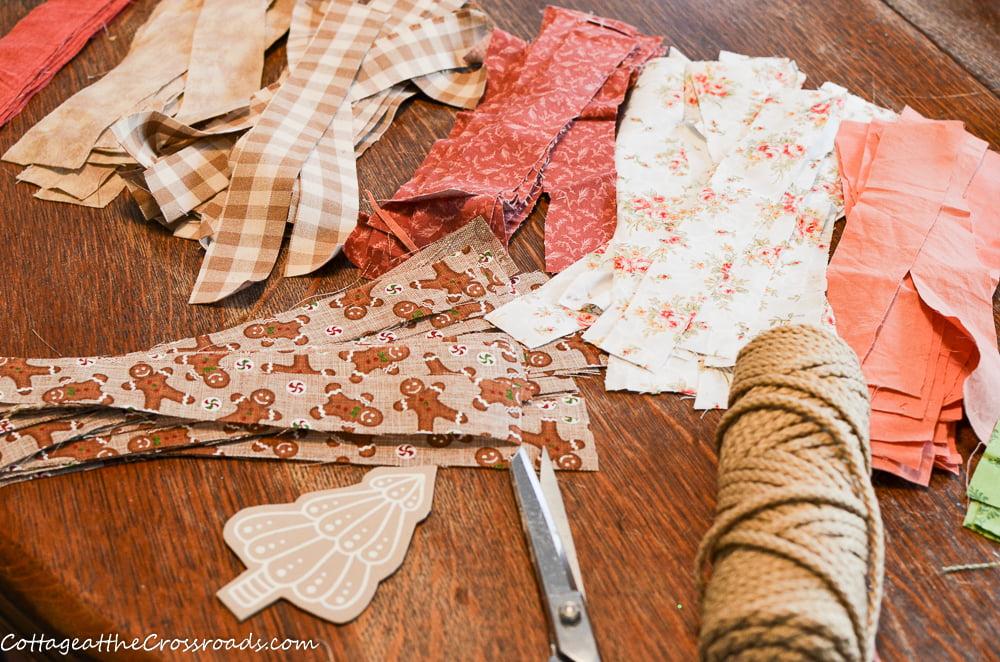 scrap fabric strips for rag garland