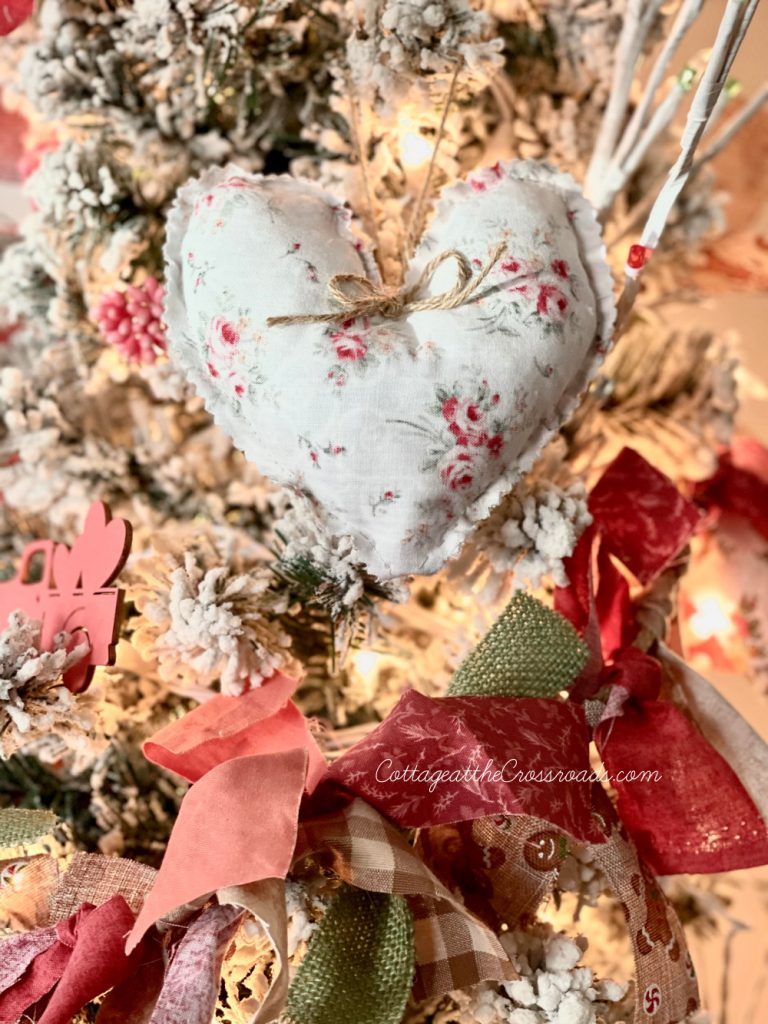 fabric heart on a Valentine's Day tree